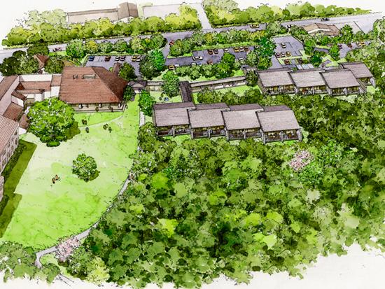 雁行型、平屋建ての「森のレジデンス」(右上)