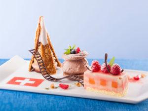 登山鉄道に乗って スイスのチョコレートを使った3種のデザート
