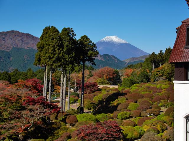 山のホテルの富士山と紅葉