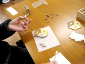 寄木細工体験でコースター作り